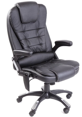 Kidzmotion black leather high back reclining office chair with massage and heat