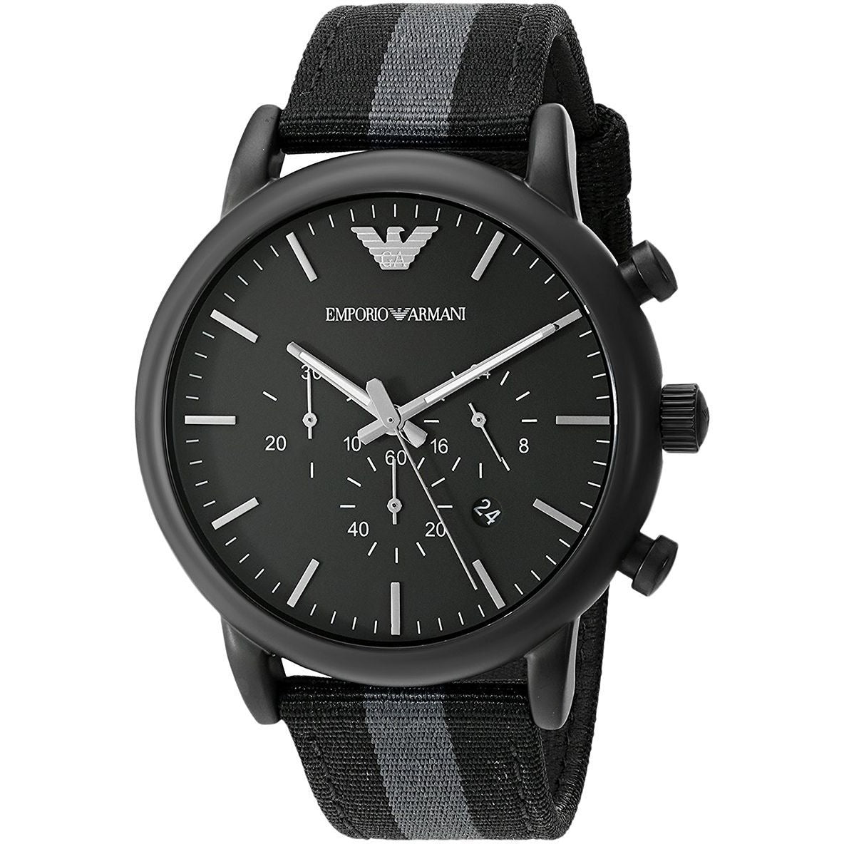 Emporio Armani Men's Black Dial Leather Band Watch - AR1948