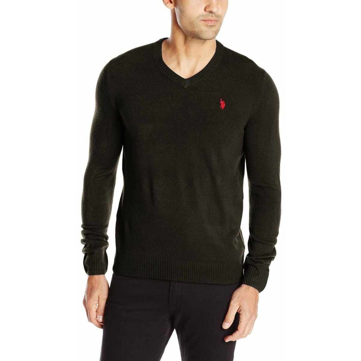 U.S. Polo Assn. Men Solid V-Neck Sweater Black