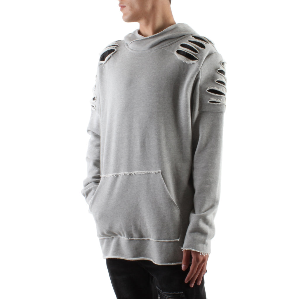 GREY DESTROYED PATCH FRENCH TERRY HOODIE - Standard Issue NYC