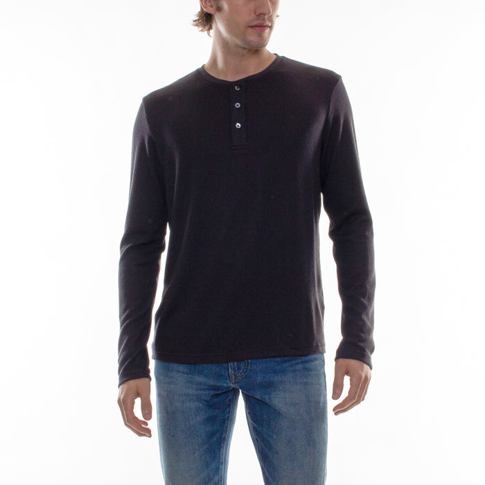 HACCI LONG SLEEVE HENLEY - CHARCOAL - Standard Issue NYC