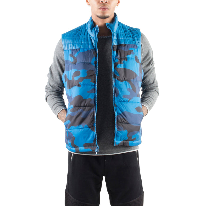 CAMO PUFFER VEST - COBALT - Standard Issue NYC