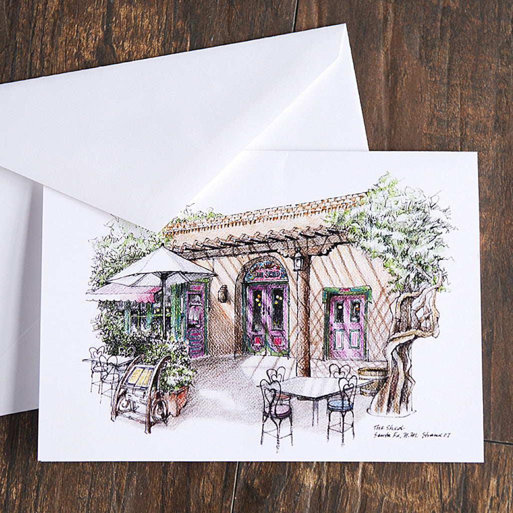 Colored Pencil Greeting Card Of Shed Patio
