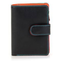 Mywalit Medium Leather Snap Wallet in Black/Pace