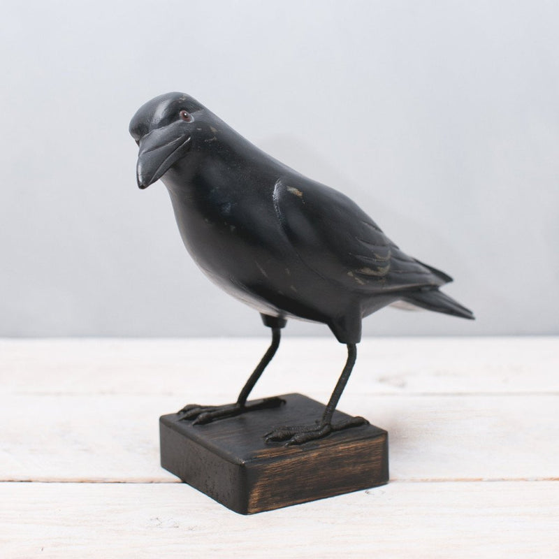 Hand Painted Wood Crow