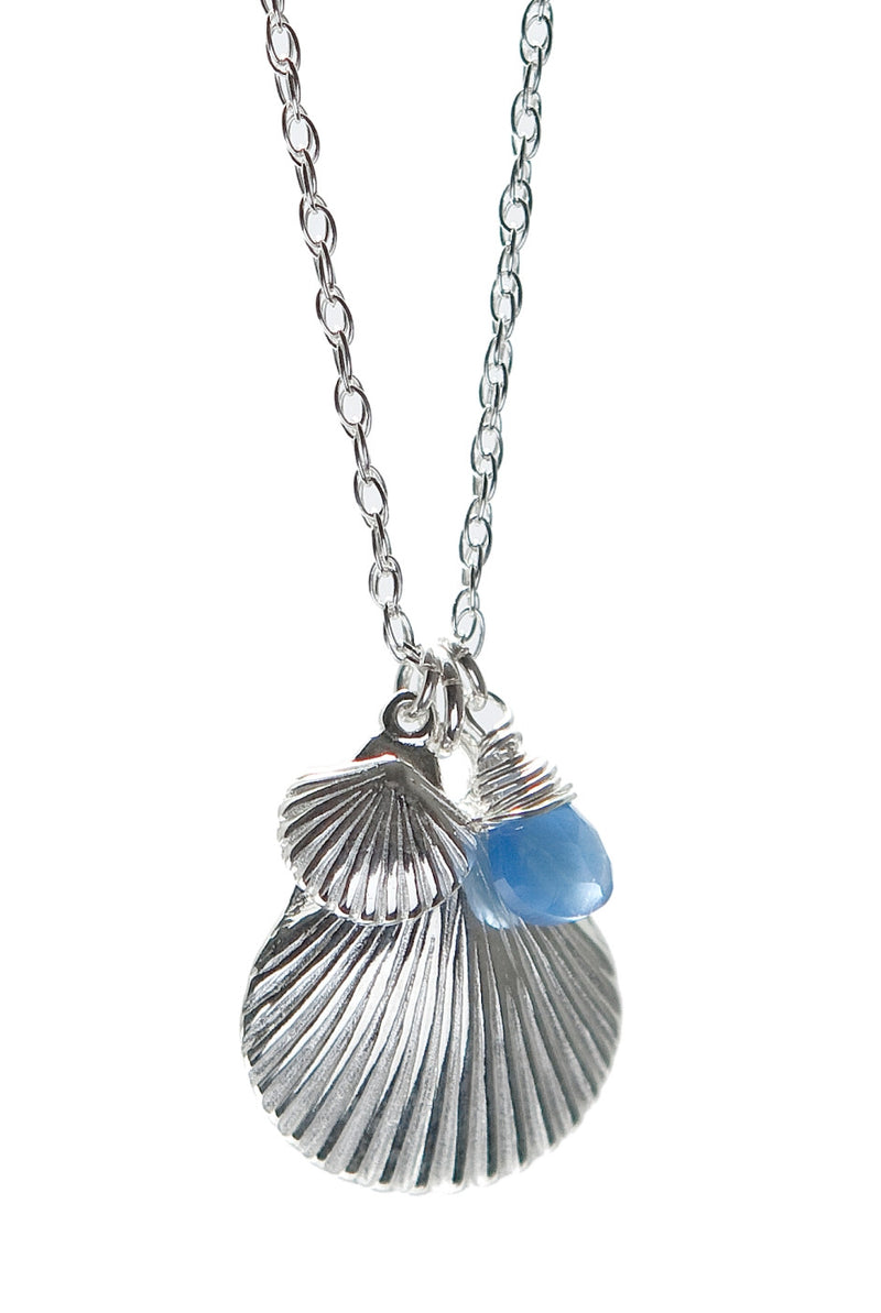 Betsy Frost Sterling Silver Scallop and Chalcedony Pendant on Chain