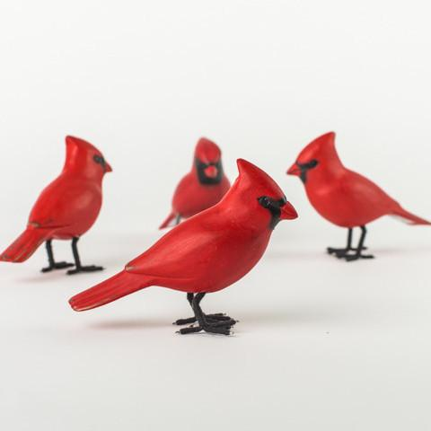 Hand Painted Wood Cardinal