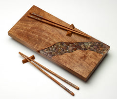 Treestump Woodcraft Mesquite Wood Sushi Board with River Rock Inlay