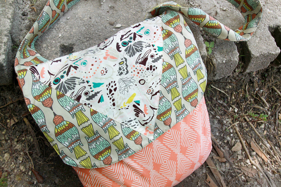 Free PDF Flyaway Messenger Bag pattern from Art Gallery