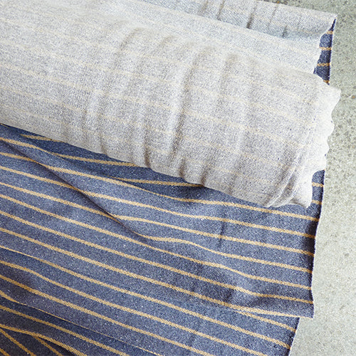 organic cotton polyester terry cloth knit blue gold stripe