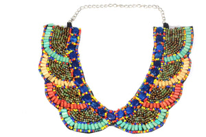 Multi Color Santa Fe Style Bib Necklace