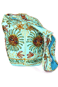 Turquoise Happy Sun Jhola Bag | Wild Lotus