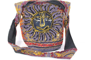 Purple Happy Black Sun Jhola Bag