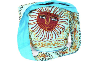 Turquoise Happy Sunset Jhola Bag