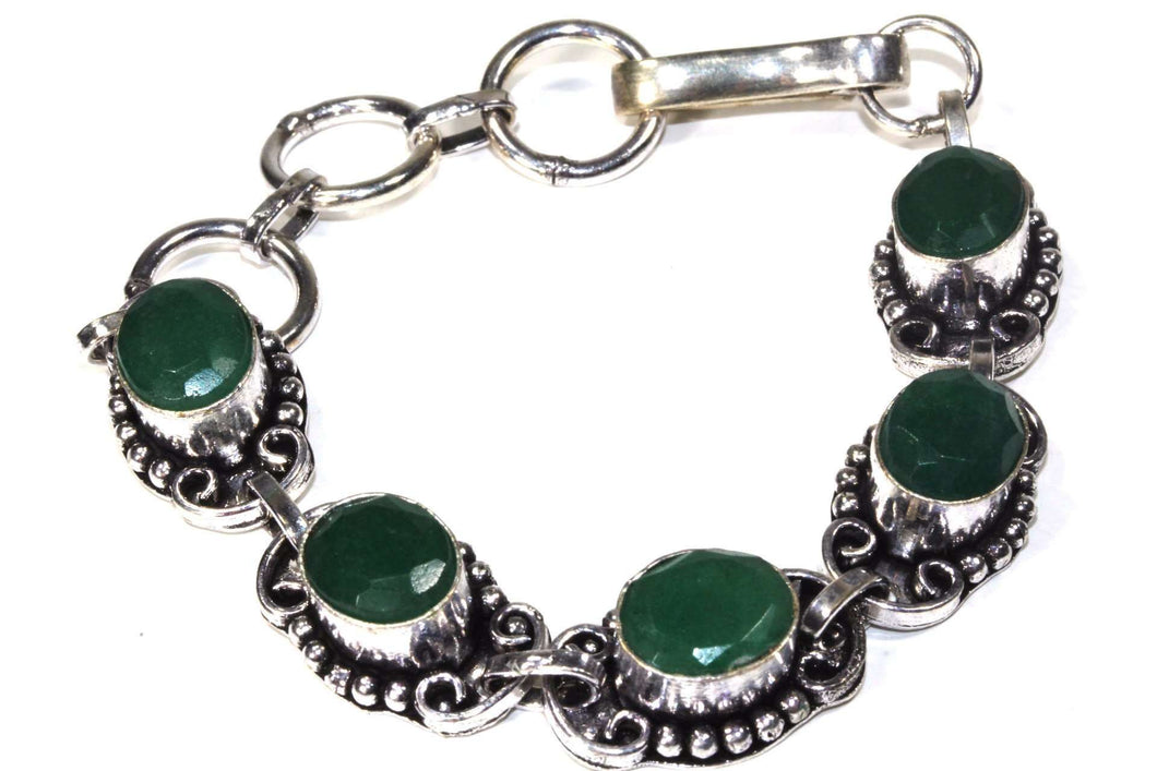 Scroll Work & Dot Design Green Glass Bracelet