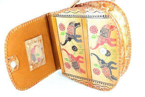 Trunks Up, Lucky Elephant Art Leather Purse | Wild Lotus
