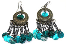 Load image into Gallery viewer, Metallic Turquoise Carnival Gypsy Earrings