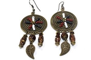 Brown Dream Catcher Bead Work Earrings