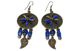 Blue Dream Catcher Bead Work Earrings