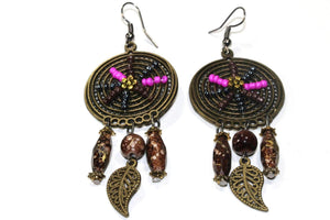 Brown and Pink Dream Catcher Bead Work Earrings