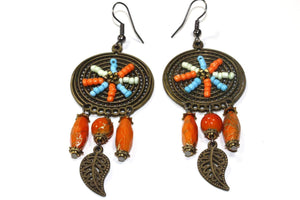 Saffron Dream Catcher Bead Work Earrings
