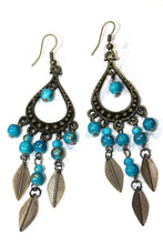 Load image into Gallery viewer, Turquoise Free Spirit Leaf Dangler Earrings