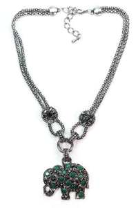 Green Dazzling Elephant Necklace