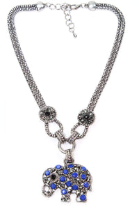 Blue Dazzling Elephant Necklace