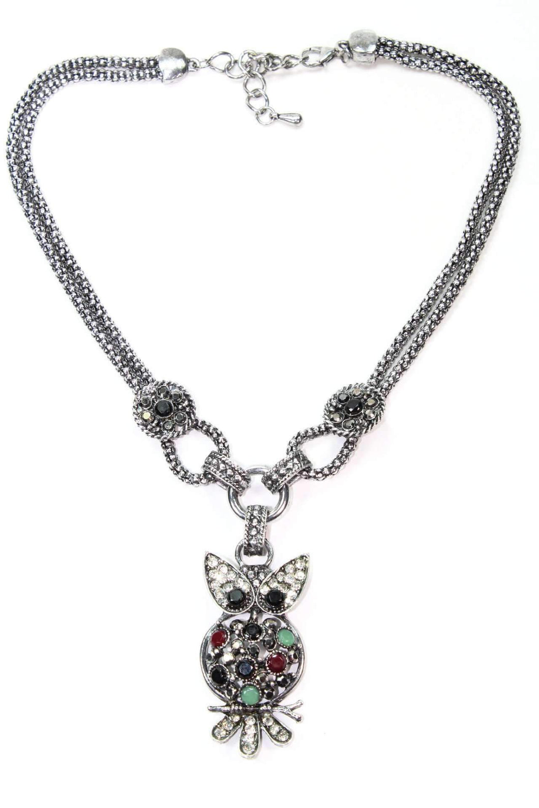 Multi Color Dazzling Perched Owl Necklace