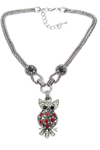Red Dazzling Perched Owl Necklace