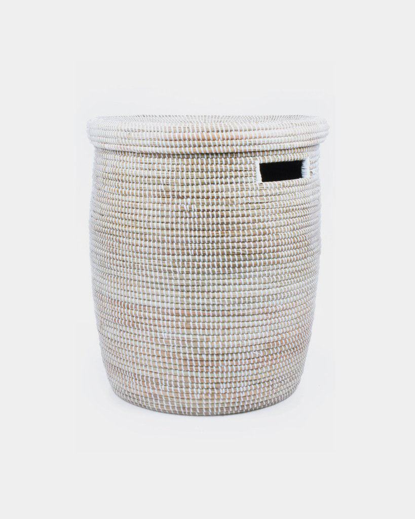 White Woven Laundry Basket - Hesby
