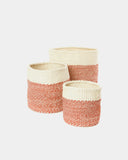 Red Dipped Sisal Basket Set - Hesby