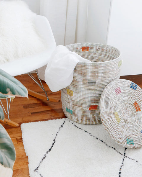 Rainbow Woven Laundry Basket - Hesby