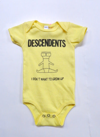 Descendents Yellow Onesie with Milo baby I don't wan't to grow up