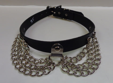 black leather BDSM collar choker with chains and buckle closure