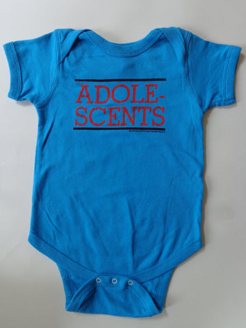 Adolescents turquoise onesie with red Adolescents print