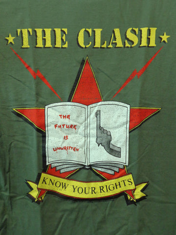 The Clash Know Your Rights olive green mens tee