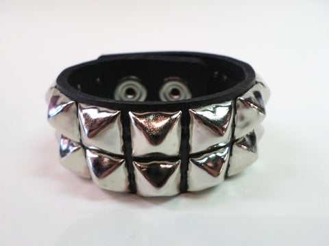 Black Leather Snap Bracelet with 2 rows of pyramid studs