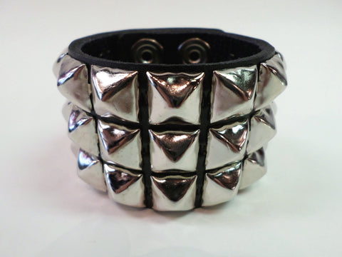 3 Row Pyramid Stud Snap Leather Bracelet