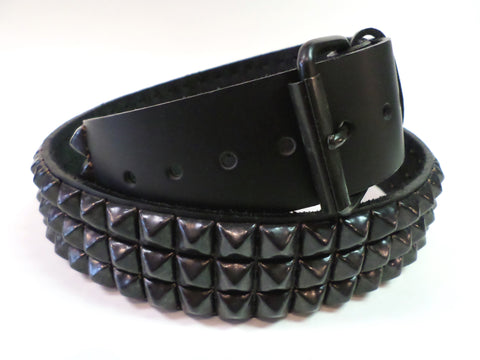 Black leather 3 row black pyramid stud belt with detachable buckle