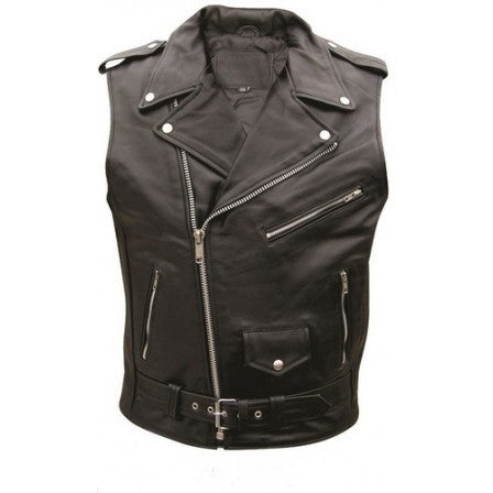 Men's black leather vest with silver hardware