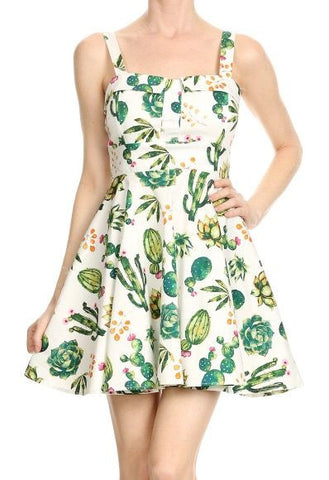 Ixia white dress with cactus print