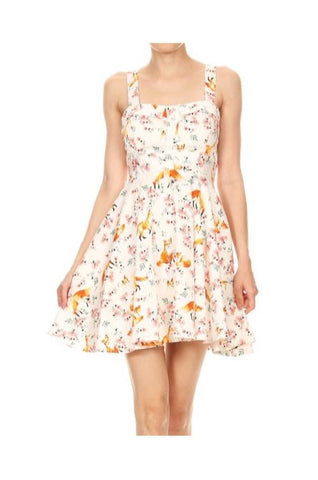 Fox and flowers white dress cherry blossoms junior sizing