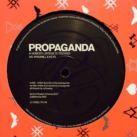 "Propaganda - Nobody Listens To Techno / Windmill & Keys 12"" PC64 Position Chrome"