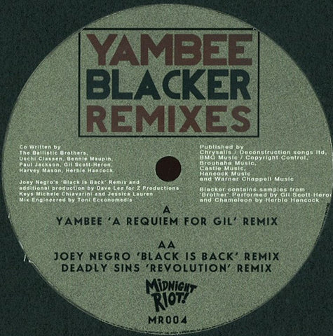 Yambee - Blacker Remixes - Midnight Riot Recordings ‎– MR004