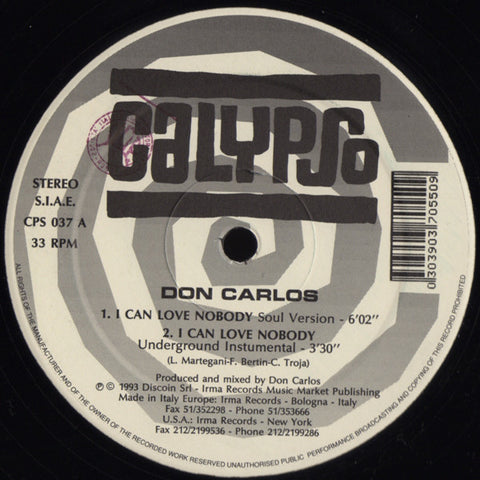 Don Carlos ‎– I Can Love Nobody - Calypso Records ‎– CPS 037