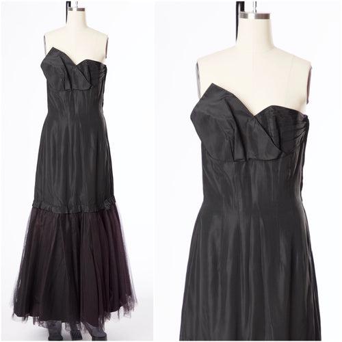 Vintage 1970s Black Sheath Strapless Fred Perlberg Taffeta Dress - Vintage World Rocks - 1