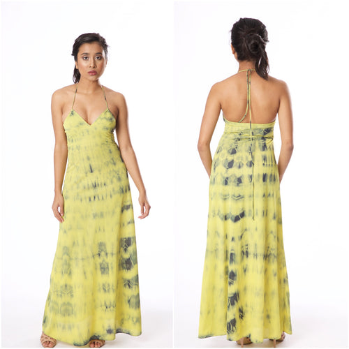 Vintage 1970s Lime Green Halter Tie Dye John Kloss for Cira Negligee - Vintage World Rocks - 1
