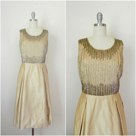 Vintage 1960s Peach Silk Chiffon Party Dress