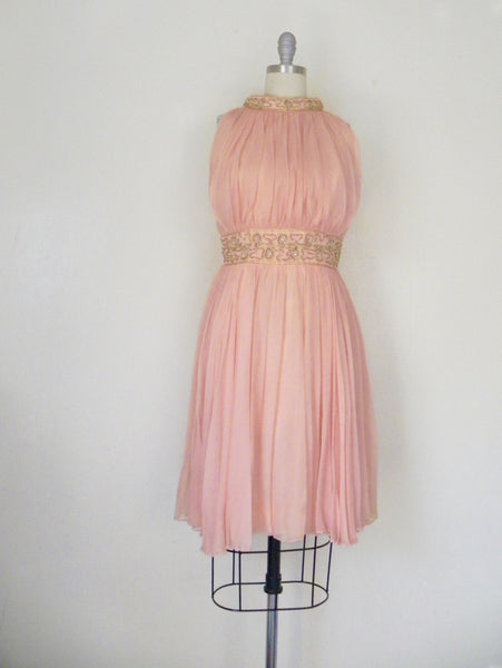 Vintage 1960s Peach Silk Chiffon Party Dress - Vintage World Rocks - 2
